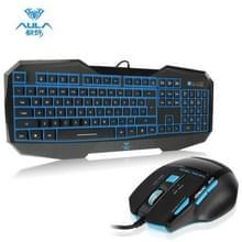 Aula doden de ziel Behead serie Wired USB Silent / anti-slip toetsenbord met achtergrondverlichting van de Blu-ray + 500-1000 Hz terugkeer tarief 7 D Game muis Combo Kit(zwart)
