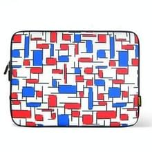 ENKAY ENK-2003 2-color Lattice Pattern Thermal Printing Soft Sleeve Case Zipper Bag for 10 / 10.1 inch Laptop (Red+Blue)