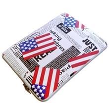 POFOKO ons Vlag patroon 13 3-inch Fashion Zipper linnen Waterdicht mouw hoesje tas voor Laptop Notebook  met een kleine tas voor muis