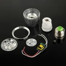 E27 5W DIY aluminium 5 LED-spot Lamp Shell Kit (aluminium omhulsel + Aluminium grondplaat E27 Base + Lens LED + LED Driver)