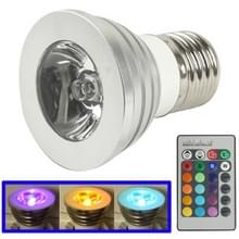 E27 3W RGB LED gloeilamp met afstandsbediening  AC 85-265V  lichtstroom Flash: 240-270lm