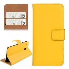 horizontaal Flip Top-grain lederen hoesje met opbergruimte voor pinpassen & houder voor HTC One mini / M4 (geel)