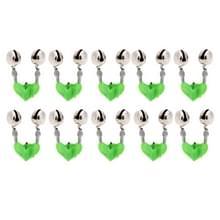 10 stuks Hengelsport accessoire Twin Bells klem op hengel vissen aas Alarm  willekeurige kleur levering