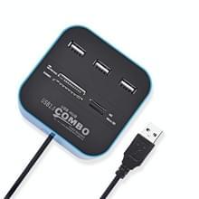 2 in 1 USB 2.0 M2 / TF / SD / MMC / MS / MS PRO DUO Card Reader & 3-port HUB(blauw)