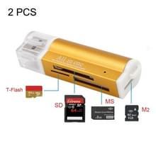 2 stuks multi all in 1 USB 2 0 micro SD SDHC TF m2 MMC MS PRO DUO geheugenkaartlezer (goud)