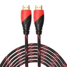 HDMI 19 Pin mannetje naar HDMI 19Pin mannetje kabel, 1.3 Versie, Ondersteunt HD TV / Xbox 360 / PS3 etc, Lengte: 10 meter (Rood + Verguld)