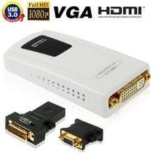 USB 3.0 naar DVI / VGA / HDMI Adapter, ondersteunt Full HD 1080P, uitbreidbaar tot 6 weergave apparaten