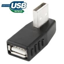 USB 2.0 A mannetje naar A vrouwtje Adapter met 90 graden hoek  ondersteunt OTG functie