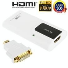 USB 3.0 naar HDMI Adapter met VGA Adapter  ondersteunt Full HD 1080P  uitbreidbaar tot 6 weergave apparaten wit