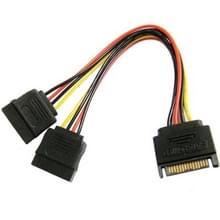 SATA 15-Pin mannetje naar 2 x 15-Pin vrouwtje Power verleng kabel, Lengte: 15cm