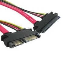 15 + 7 Pin Serial ATA Male to Female Data Power Extension Cable for SATA HDD  Length: 26cm