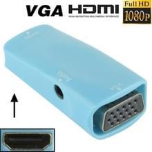 Full HD 1080P HDMI vrouwtje naar VGA en Audio Adapter voor HDTV / Monitor / Projector (blauw)