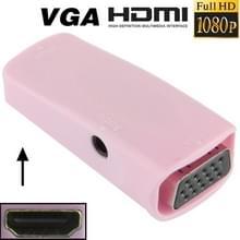 Full HD 1080P HDMI vrouwtje naar VGA en Audio Adapter voor HDTV / Monitor / Projector (roze)