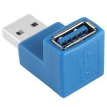 USB 3.0 mannetje naar USB 3.0 vrouwtje Type A Kabel Adapter met 90 Graden hoek (blauw)