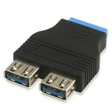2 x USB 3.0 A vrouwtje naar 20 Pin Adapter