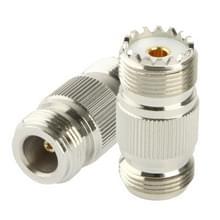 Coaxial RF N Female to UHF Female Adapter(Silver)