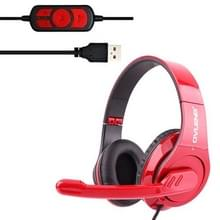 OVLENG Q8 universeel Stereo Headset met Mic & Volume Control-toets voor alle Audio-apparaten  Kabel Lengte: 2m(rood)