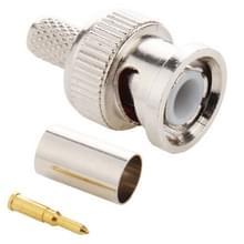 100 stuks UG1789 Crimp 3 in 1 BNC mannelijke Connector Adapter voor RG59 coaxkabel