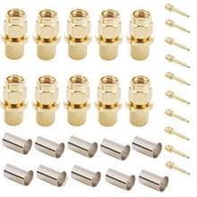 10 Stuks vergulde SMA mannetje Plug RF Connector Adapter voor RG58 / RG400 / RG142 / LMR195 Kabel