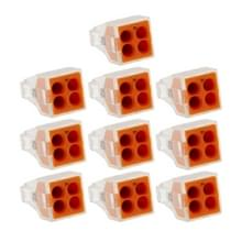 10 PCS 4 Pin Junction Box Push-in Wire Connector voor Sectional Area 1-2.5 Square Millimeter Hard Wire