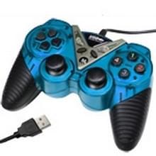 USB-12 knop dubbele Shock Game Pad  Plug en Play  (Baby blauw)