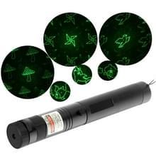 4mw 532nm Green Beam Laser Stage Pen  Mushroom / Bear / Windmill / Dolphin / Apple / Birds / Goldfish / Meteor Pattern(Black)