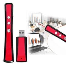 VIBOTON PP900 2.4GHz Multimedia Presentation Remote PowerPoint Clicker Handheld Controller Flip Pen with USB Receiver  Control Distance: 25m(Red)