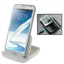 Dual lader van de Sync Dock Cradle ontmoette houder voor Samsung Galaxy Note II / N7100 wit
