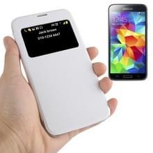 horizontaal Flip lederen hoesje met Oproepweergave ID voor Samsung Galaxy S5 / G900wit