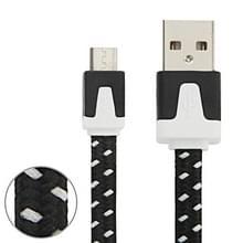 3m Geweven stijl Micro USB to USB Data / laad Kabel  Voor Samsung / Huawei / Xiaomi / Meizu / LG / HTC en Other Smartphones(zwart)