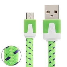 3m Geweven stijl Micro USB to USB Data / laad Kabel  Voor Samsung / Huawei / Xiaomi / Meizu / LG / HTC en Other Smartphones(groen)