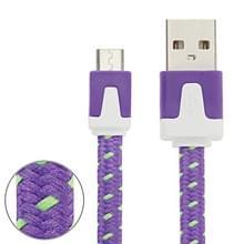 3m Geweven stijl Micro USB to USB Data / laad Kabel  Voor Samsung / Huawei / Xiaomi / Meizu / LG / HTC en Other Smartphones(paars)
