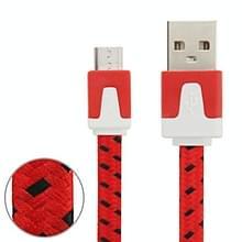 3m Geweven stijl Micro USB to USB Data / laad Kabel  Voor Samsung / Huawei / Xiaomi / Meizu / LG / HTC en Other Smartphones(rood)