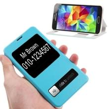 Crazy Horse structuur Flip lederen hoesje met Oproepweergave ID & houder voor Samsung Galaxy S5 / G900 (Baby blauw)