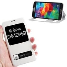 Crazy Horse structuur Flip lederen hoesje met Oproepweergave ID & houder voor Samsung Galaxy S5 / G900wit