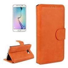 Frosted structuur horizontaal Flip lederen hoesje met opbergruimte voor pinpassen & portemonnee & houder voor Samsung Galaxy S6 Edge(Oranje)