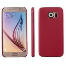 Samsung Galaxy S6 / G920 ultra-dun beschermend PU leren back cover Hoesje (rood)