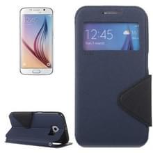 Roar Kruis structuur Flip lederen hoesje met houder & opbergruimte voor pinpassen & Caller ID Window voor Samsung Galaxy S6 / G920(donker blauw)