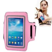 Universeel PU leren sport armband Hoesje met opening koptelefoon aansluiting voor o.a. iPhone 8 / 7 / 6  Samsung Galaxy S5 / S4 / S3 (roze)