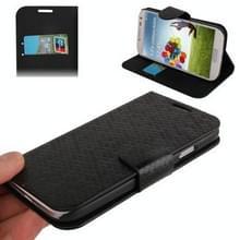 Honingraat Style lederen hoesje met opbergruimte voor pinpassen opberg vakjes & houder voor Samsung Galaxy S IV / i9500 (zwart)
