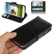 Slangenhuid structuur lederen hoesje met opbergruimte voor pinpassen opberg vakjes & houder voor Samsung Galaxy S IV / i9500(zwart)