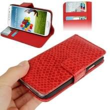 Slangenhuid structuur lederen hoesje met opbergruimte voor pinpassen opberg vakjes & houder voor Samsung Galaxy S IV / i9500(rood)