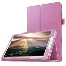 Samsung Galaxy Tab E 8.0 / T377V horizontaal Litchi structuur PU leren Flip Hoesje met houder (roze)