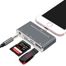 D-198 5 in 1 8-pins naar USB-HUB + USB-C / Type-C + 3 5 mm hoofdtelefoon + SD + TF kaartlezer voor MacBook  PC  Laptop  Smart Phones