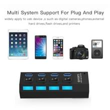 4 Ports USB 3.0 HUB  Super Speed 5Gbps  Plug and Play  Support 1TB (Black)