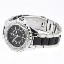 Zwarte wijzerplaat vrouwen Diamond Quartz Stainless Steel Watch / Watch (echt) paar