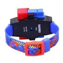 SKMEI transformatie Toy vorm wijzigen van verwisselbare Dial digitale verkeer kinderen horloge met PU kunststof Cement Band (donkerblauw)