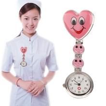 Glimlach stijl Portable legering verpleegkundige ronde Quartz horloge horloge met Pin(Red)
