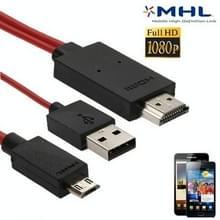 Volledige HD 1080P Micro USB MHL + USB-aansluiting naar HDMI Adapter HDTV Adapter Converter Kabel voor Samsung Galaxy S II / i9100 / i9101  Lengte: 2m