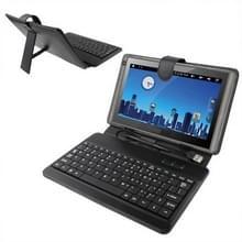 9.7 inch universele Tablet PC lederen draagtas met USB-Plastic Keyboard(Black)